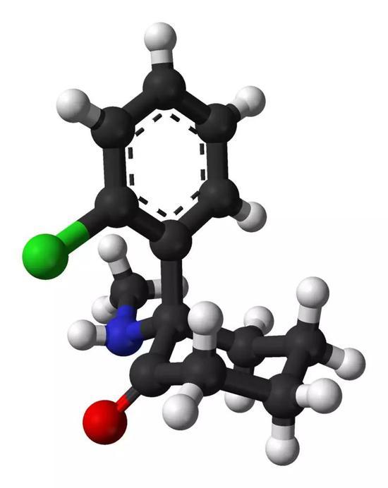 氯胺酮的三维结构。图片来源:Wikipedia