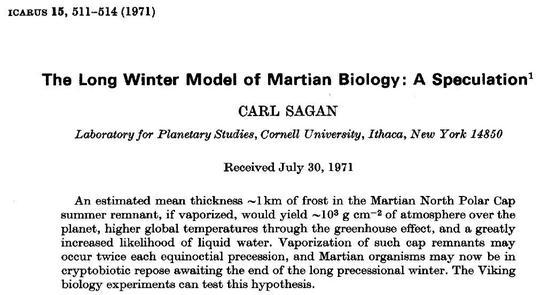 1971年,卡尔·萨根曾尝试计算如果火星的北极冰盖融化挥发,释放的二氧化碳能否改变火星的大气和生态,让液态水可以稳定存在,当然,那时候的人们对火星南北极冰盖的储量认识是非常不足的。来源:参考文献[1]