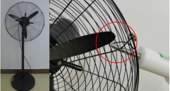 ▲市场购检工业风扇样品网罩间隙过大,成人试验指可以伸入
