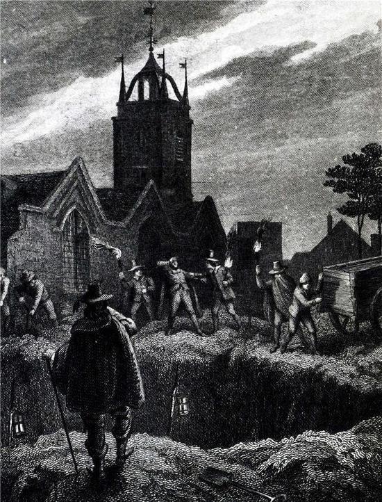插图所绘是14世纪黑死病流行期间,在伦敦挖掘的用于掩埋尸体的巨大坑洞