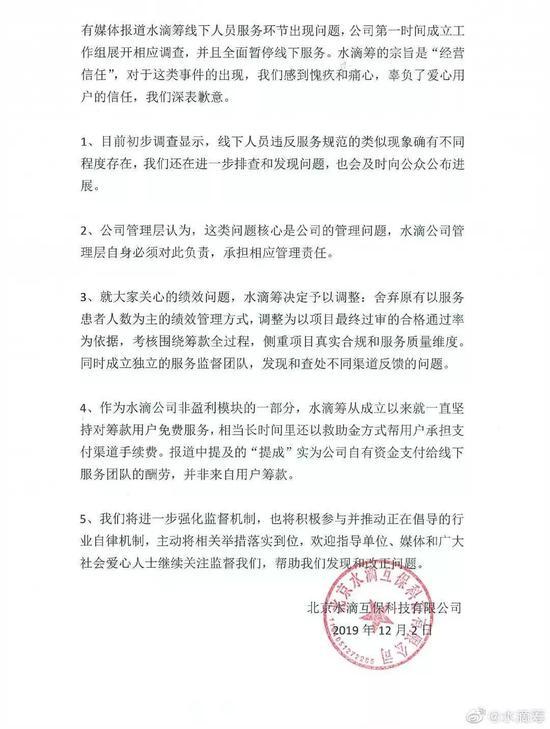 水滴筹12月2日发布的更新版声明