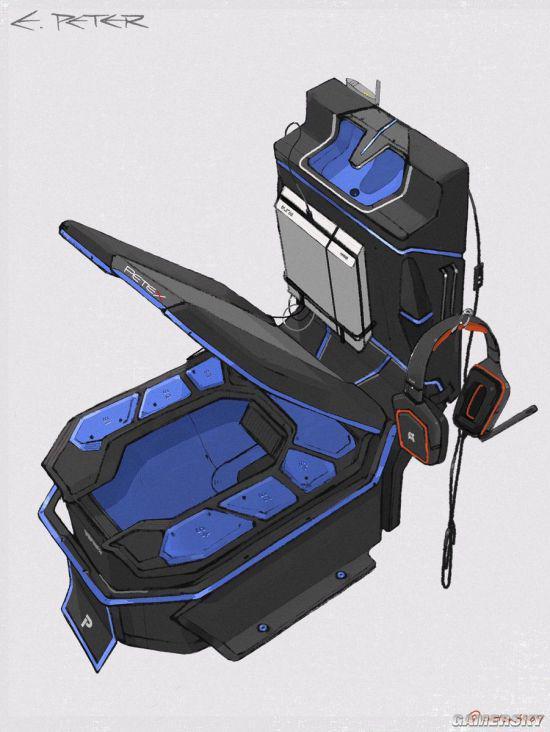 脑洞打开的电竞马桶(图片来源:Gamersky)