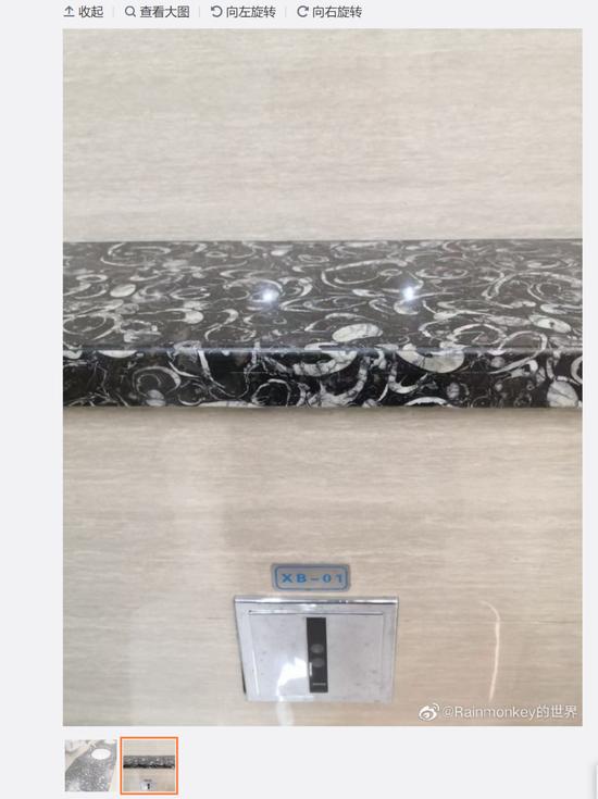 贵阳机场洗手台的化石,微博中的3亿年,后面已经被更正为4.4亿年了图/微博截图