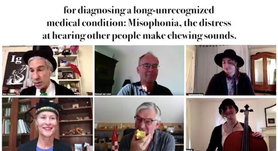 下面中间这位,你是有意在视频会议中大声吃苹果的吗