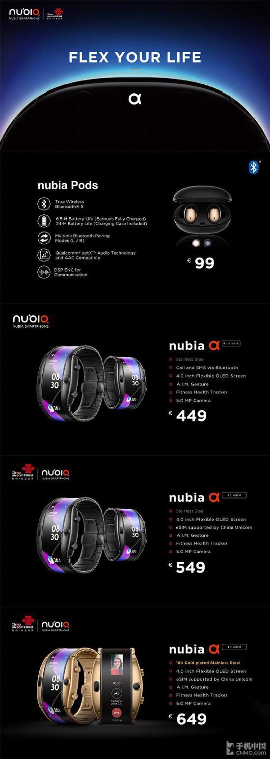 努比亚α售价449欧元起