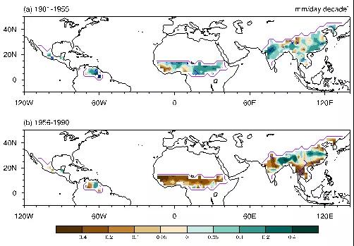 图2 北半球陆地季风区在两个时段降水变化情况。绿色为增多,黄色为减少。