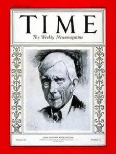 图:1928年,约翰·洛克菲勒登上时代周刊封面