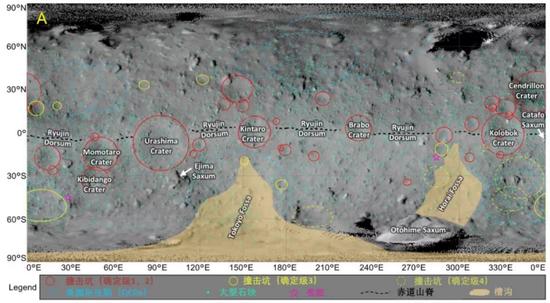 龍宮上識別出的地貌特征,其中紅圈是比較確定的撞擊坑。不過,撞擊坑似乎聚集在赤道區域只是因為地圖投影帶來的錯覺。