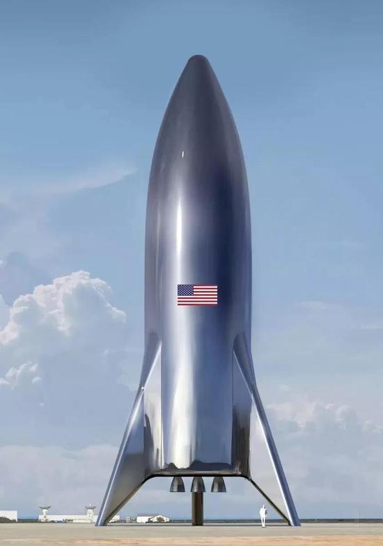 看起来很炫酷是吧!别急,上面这是是概念稿,真正的Starship长这样: