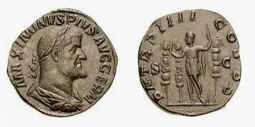 印有古罗马皇帝马克西米努斯·色雷克斯头像的古罗马钱币。图片来源:wikimedia