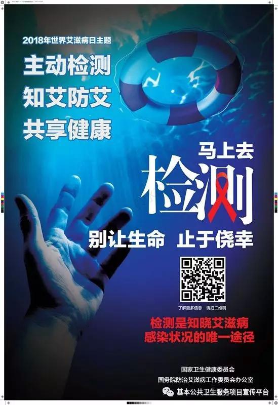 """▲第31个""""世界艾滋病日""""中国2018年宣传运动主题为""""主动检测,知艾防艾,共享健康""""。图为国家卫生委员会官方宣传海报(图片来自网络)"""