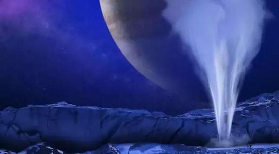 欧罗巴上的喷泉。|图片来源:NASA/ESA/K. RETHERFORD/SWRI