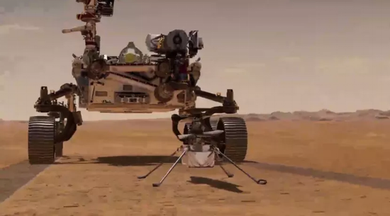 坚毅号火星车与直升机合照,图片来源:NASA