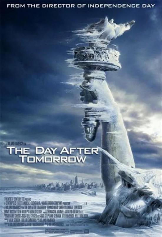 图 不幸电影《后天》海报,美国解放女神像被冰封,海水被凝结,遥远是进入极寒的纽约市。全球变暖引首北极冰川添速消融,大量淡水汇入北大泰西,导致大泰西经圈翻转流(AMOC)凝滞,全球陷入冰河纪大劫难。飓风、海啸、地震、洪水、极度冰凉在全球荼毒,一系列的巨变引发了一场不能拯救的不幸。(图片来自豆瓣)