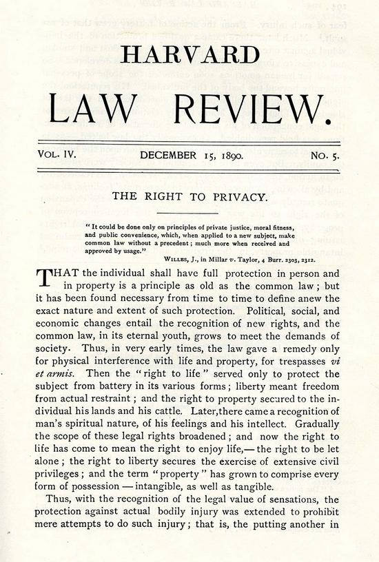 沃伦和布兰戴斯发表在《哈佛法学评论》上的文章:《隐私权》|图片来源:布兰戴斯大学