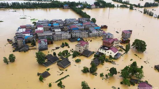 图 1. 2020年东亚夏日风变态导致中国长江流域洪涝灾难(图片来源:汤姆森路透)