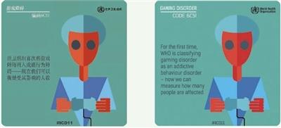 世界卫生组织在近日发布的《国际疾病分类》第十一次修订本中,将游戏障碍列入成瘾行为障碍。图为中英文版本宣传图。来源:世界卫生组织官网