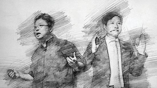 锤子科技CEO罗永浩(左)、幼米创首人雷军