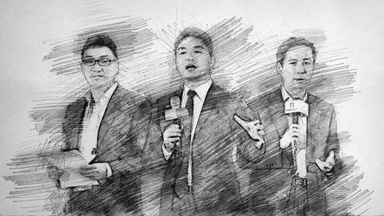 左首:拼多多创首人黄峥、京东董事局主席刘强东、阿里CEO张勇