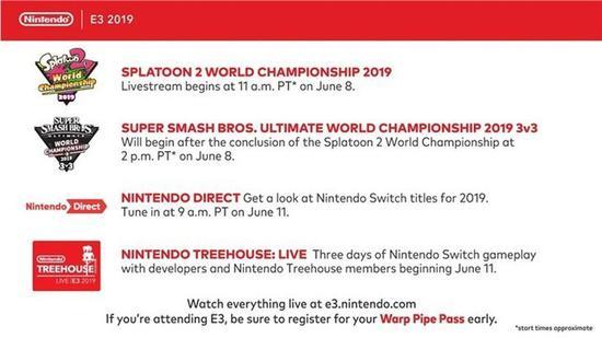 任天堂E3日程表