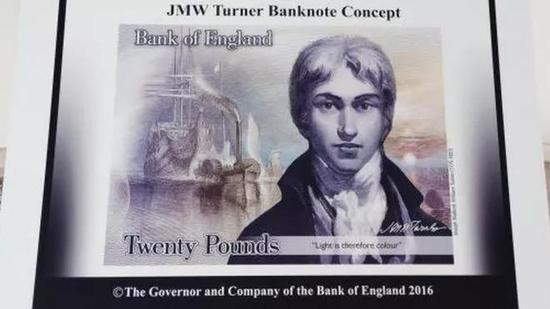 浪漫主义风景画家JMW Turner出现在20英镑钞票上
