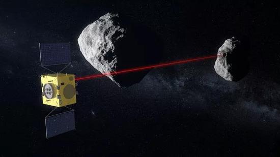 """""""赫拉""""扫描Didymos B上的撞击坑的艺术想象图。Credit: ESA"""