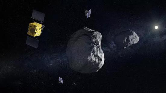 """""""赫拉""""与它的两个立方星协同合作的艺术想象图。Credit: ESA"""