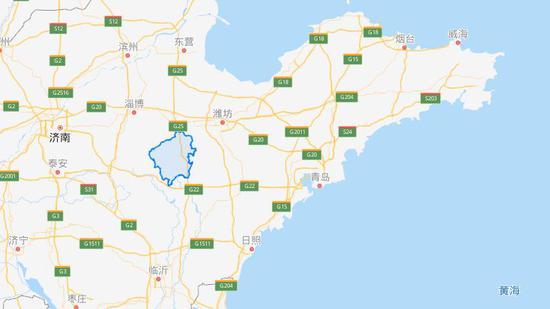 臨朐就是這個地方(來自百度地圖)