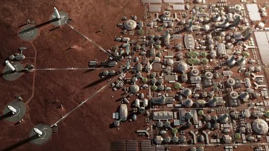 图1。 Elon Musk构想的火星城市(来源:SpaceX)