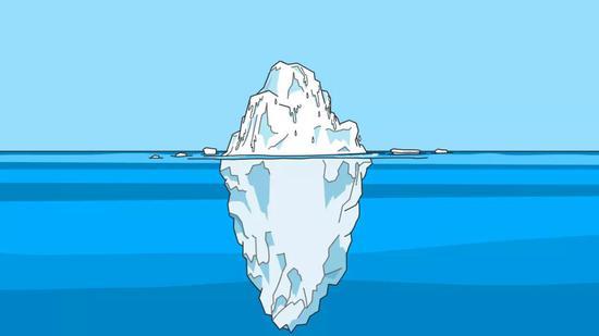 冰山浸没在水中的部分――潜意识,真的能代表心智活动吗?这一观点与神经科学的结论相悖。(图片来源:Pixabay)