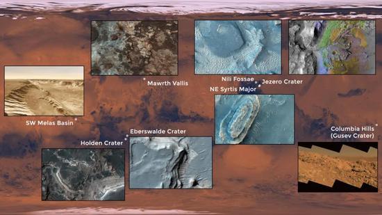 第二次研讨会之后的8个候选着陆点位置 | NASA