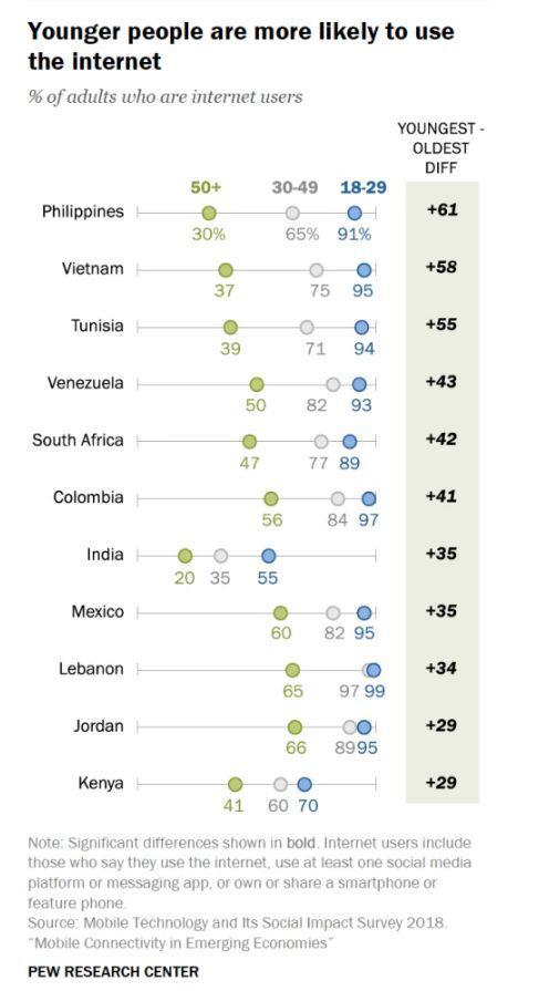 ▲11个国家中,各年龄层成年用户网络使用情况 (来源:美国皮尤研究中心)
