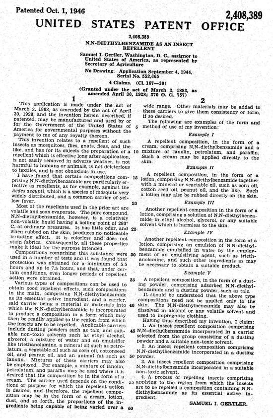 DEET的專利全文(圖片來源:美國國家專利局)