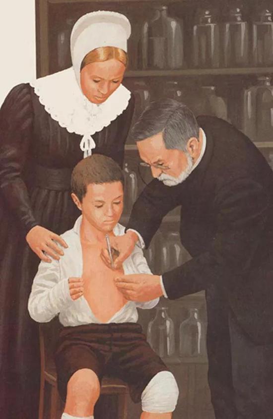 1885年7月6日,巴斯德发明的狂犬疫苗首次使用,他亲手为9岁的约瑟夫接种狂犬疫苗