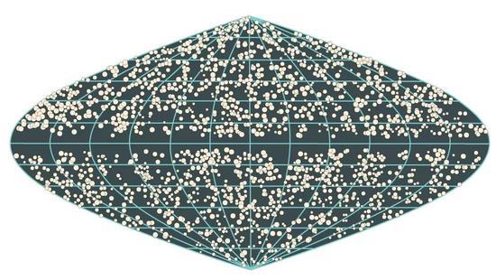 在这幅包含了从3亿~10亿光年远的天体的图中,可以明显看出星系是均匀分布的。唯一不均匀的地方是靠近中线的间隙,那是因为天空的这个区域被银河挡住了。这张图片由普林斯顿大学的迈克尔·施特劳斯(Michael Strauss)依据红外天文卫星的数据制作。