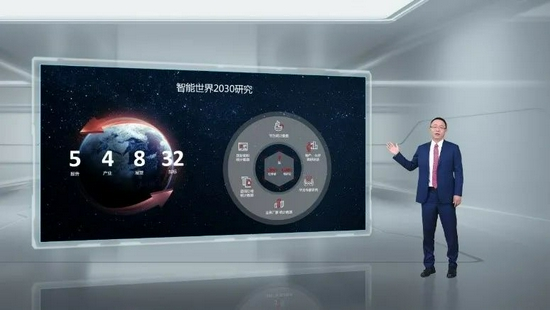 华为常务董事、ICT产品与解决方案总裁汪涛发布《智能世界2030》报告