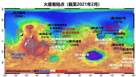 底图为火星地形伪彩色图,越蓝表示越低,越红表示越高。阴影区域是天问一号初步的计划着陆区