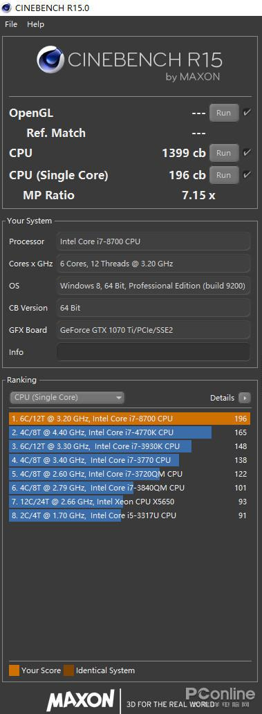 Core i7-8700 R15分数