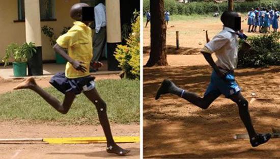 ▲光脚跑步的孩子和穿鞋跑步的孩子,脚落地的姿势不同(图片来源:参考资料[4])