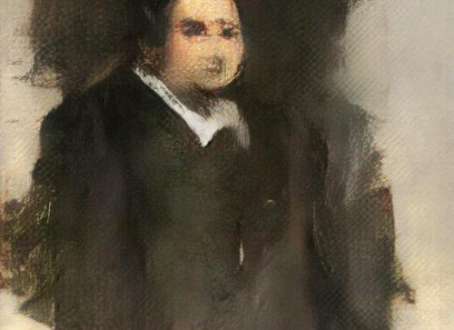人工智能画作《Protrait of Edmond Belamy》。图片来源:Obvious网站截图。