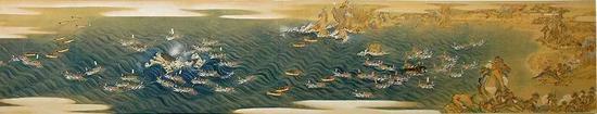 历史上日本太地町的近海捕鲸图。图片来源:Taiji Whale Museum