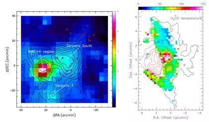图3 天鹰座(Aquila)巨分子云(左)和猎户座(Orion)巨分子云(右)的温度分布。