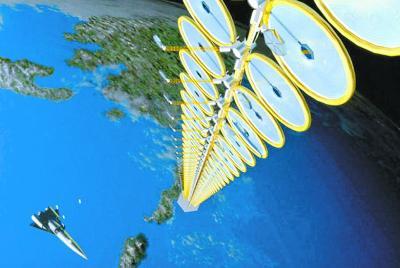 由大量太阳能电池阵组成的塔式空间太阳能电站设想图。