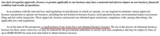 部分门店存在证照不齐的问题数据来源:瑞幸招股书