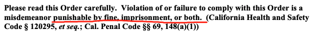 (违反禁足令的将面临罚款、监禁、或两者并行,阿拉米达县健康部门发布)