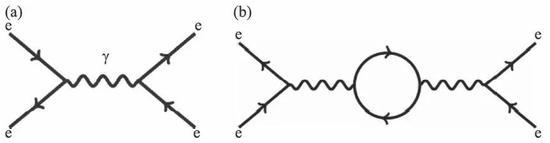 图2 (a)简单的费曼图;(b)量子电动力学中的真空极化