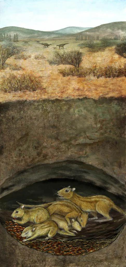 一群未成年和成年Filikomys primaevus在地穴中簇拥在一首,遥远地面上一群鸭嘴龙在游荡。