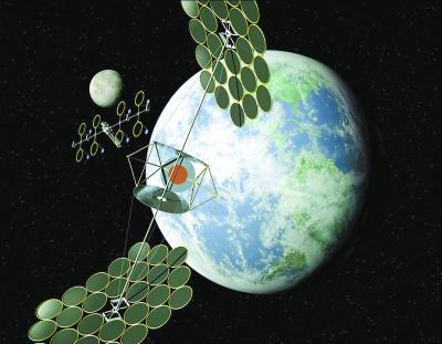 集成对称聚光系统空间太阳能电站设想图。