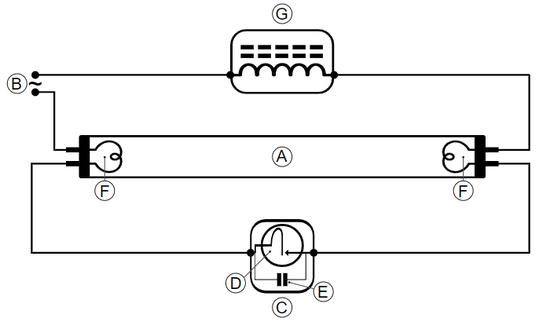 荧光灯的电路示意图