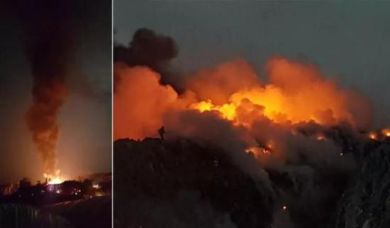 图为韩国最大的一座垃圾山起火画面